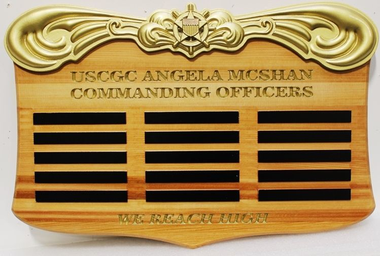 SA1365 - Carved Western Red Cedar Command Board Honoring Former Commanders of the  US Coast Guard  Angela McShan