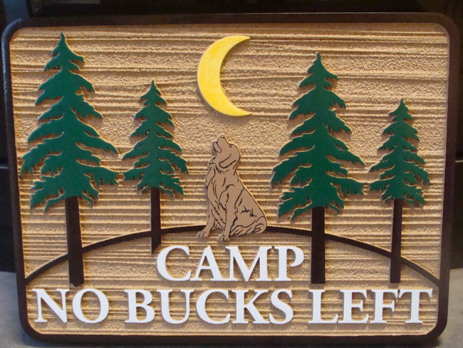M22003 - Wooden Cabin Sign with Fir Trees and a Howling Dog