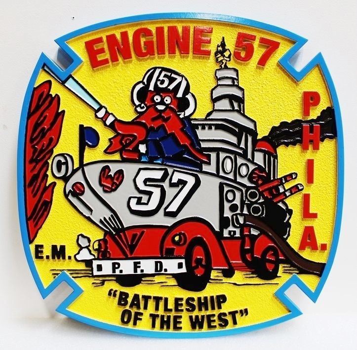 QP-3012 - Carved HDU  Plaque Logo of Engine 57 of the Fire Department in Philadelphia