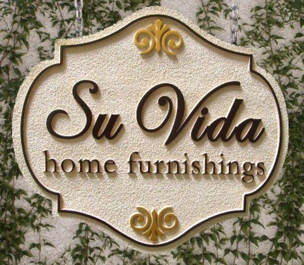 "SA28400 - Sandstone-Texture Ornate  Decorative Sign for ""Su Vida""  Home Furnishing Store, with Fleur-de-Lis"