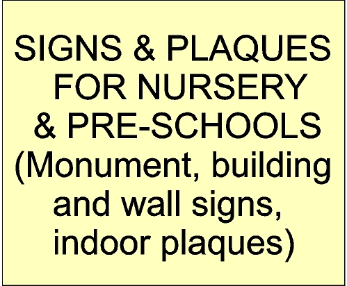 Signs and Plaques for Nursery and Pre-schools