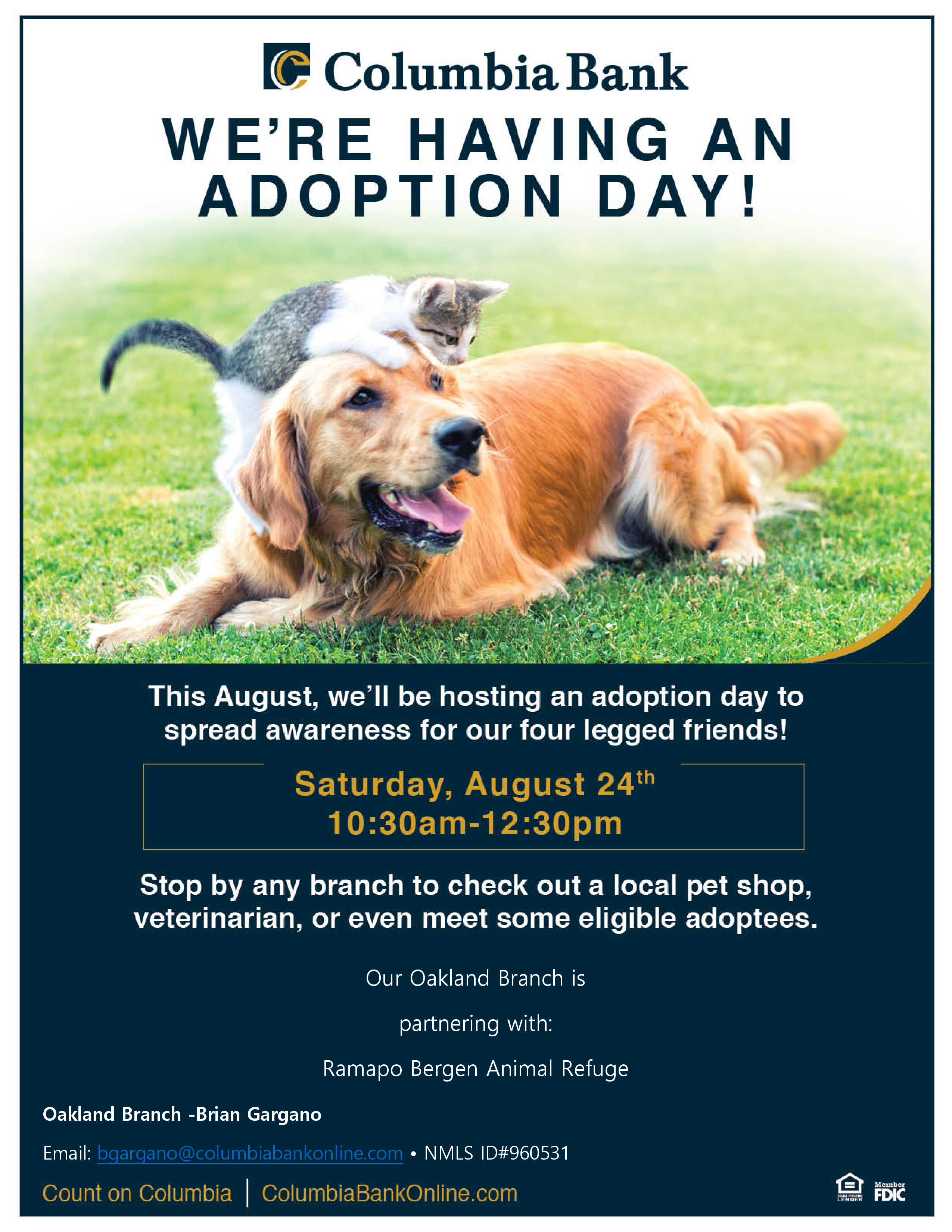 RBARI Visits Columbia Bank for Adoption Day