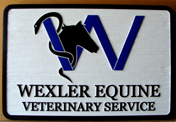 P25164 - Carved and Sandblasted Equine Veterinary Sign with Horsehead Logo