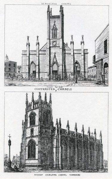 Contrasted chapels, United Kingdom, Augustus Welby Northmore Pugin, 1836, perspective of exteriors, from Augustus Welby Northmore Pugin, Contrasts, 2nd ed (London, 1841)
