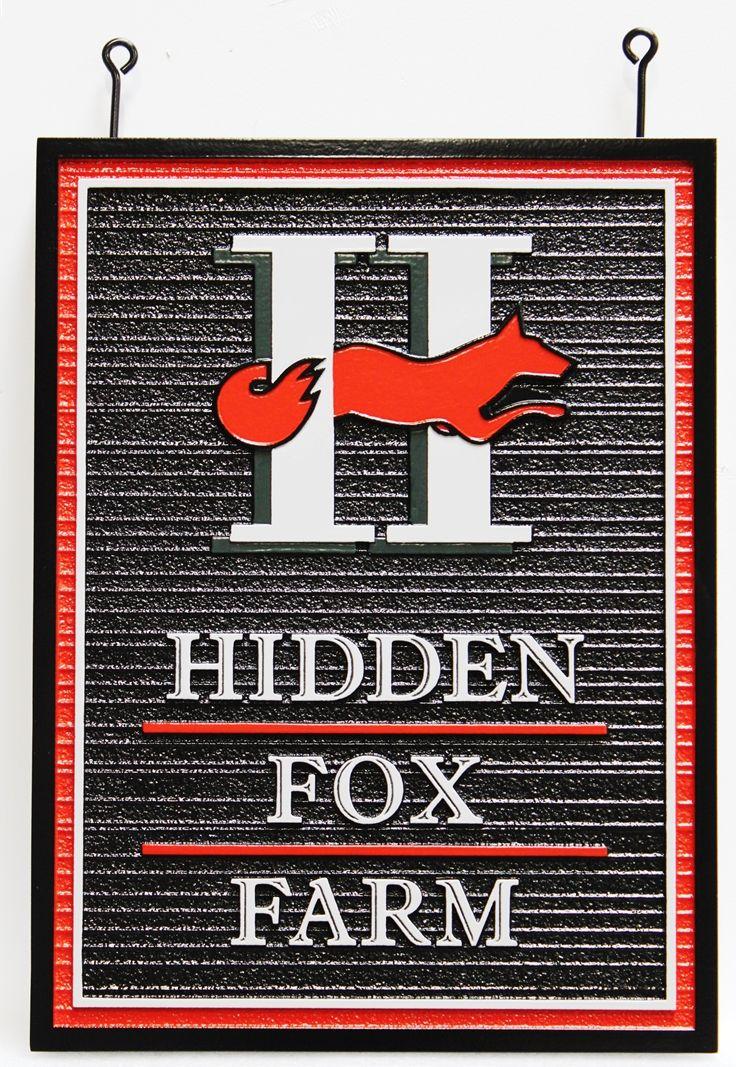 """O24616 -  Carved and Sandblasted HDU Entrance Sign forthe """"Hidden Fox Farm"""", with a Fox as Artwork"""