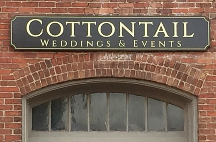 """S28048 - Large Carved HDU  Sign for """"Cottontail Weddings and Events"""""""