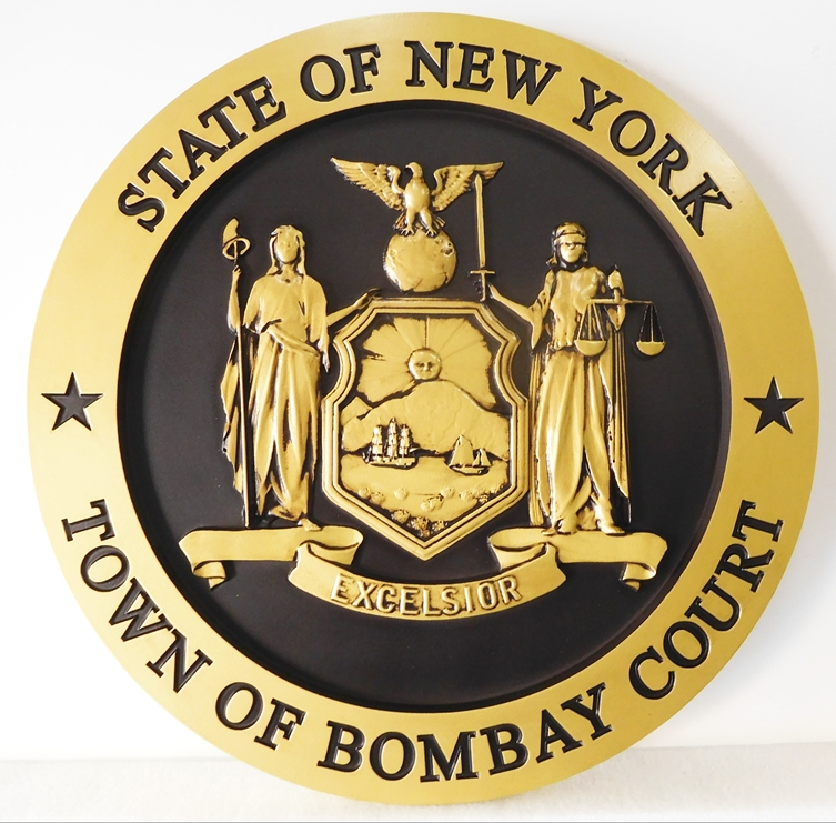 X33028 - Wall Plaque of the Seal of the Town of Bombay Court, New York, painted Metallic Gold with Hand-Rubbed Black Paint