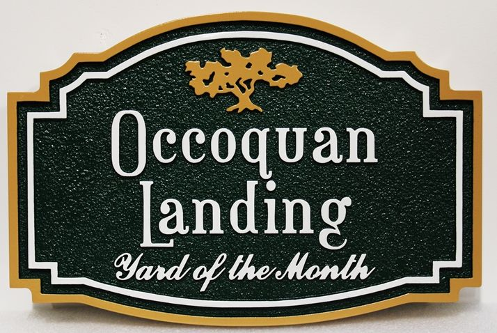 "KA20950  - Carved ""Occoquan Landing"" HOA Yard-of-the-Month Sign, with Stylized Logo of an Oak Tree"