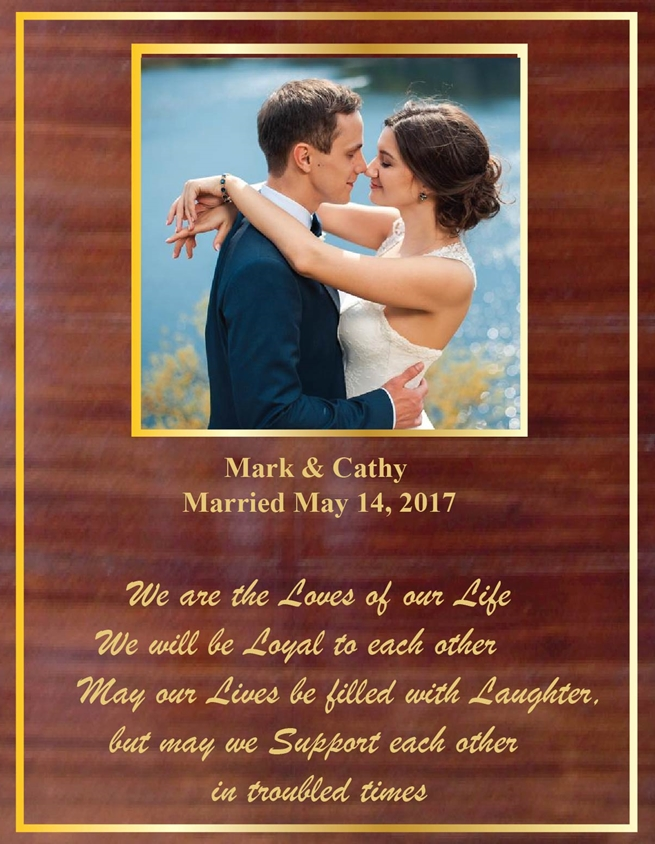 YP-1010- Engraved Marriage Celebration Plaque , Mahogany  Wood with Giclee Photo