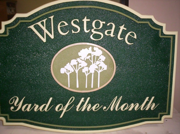 "KA20920 - Carved, Sandblasted High Density Urethane Yard-of-the-Month Sign for the ""Westlake"" HOA with Grove of Trees"
