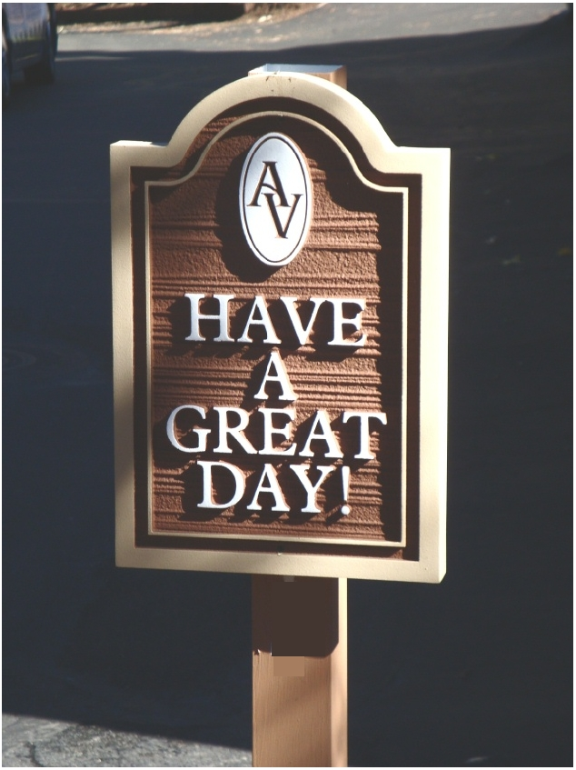"KA20631 - Carved Wood Grain  Apartment Complex Exit Sign ""Have a Great  Day"" with Carved Apartment  Logo"