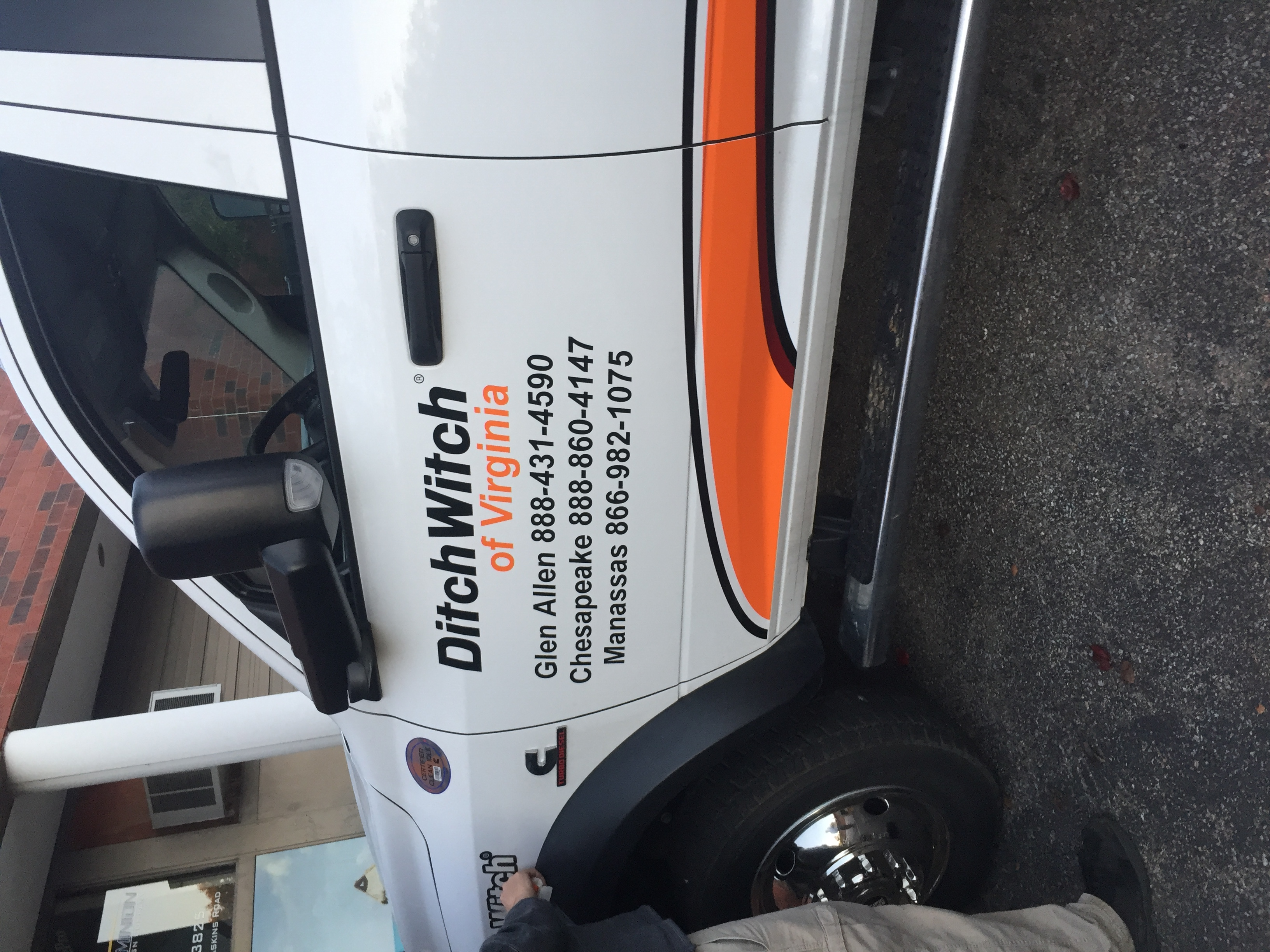 Utility truck with graphics