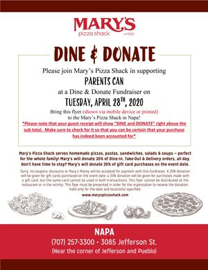 Dine & Donate at Mary's Pizza Shack