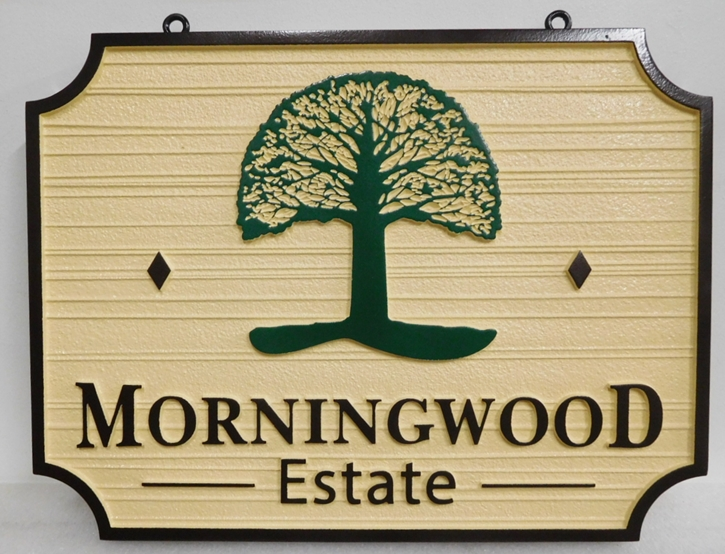 I18319 - Carved and Sandblasted  2.5-D Property Address  Sign, for the Morningwood Estate,  with Stylized Tree as Artwork