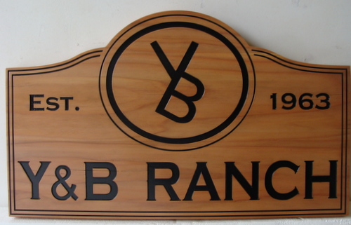 M3207 - Western Ranch Wood Sign, made of Western Red Cedar (Gallery 23)