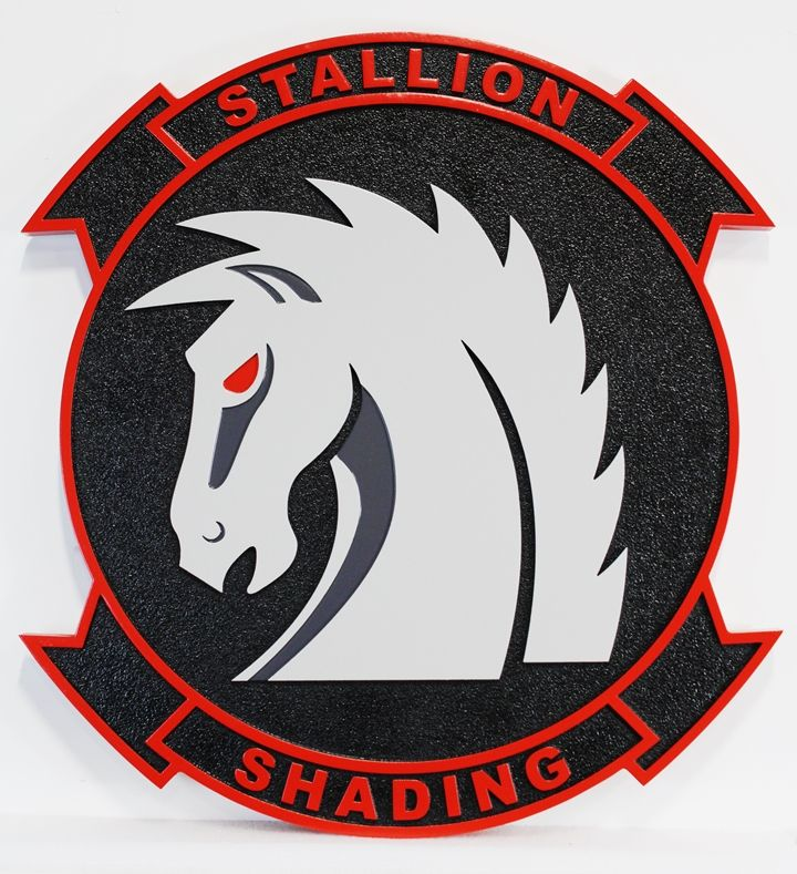 """LP-3790 - Carved Plaque of the""""Stallion Shading""""Squadron , 2.5-D Artist Painted"""