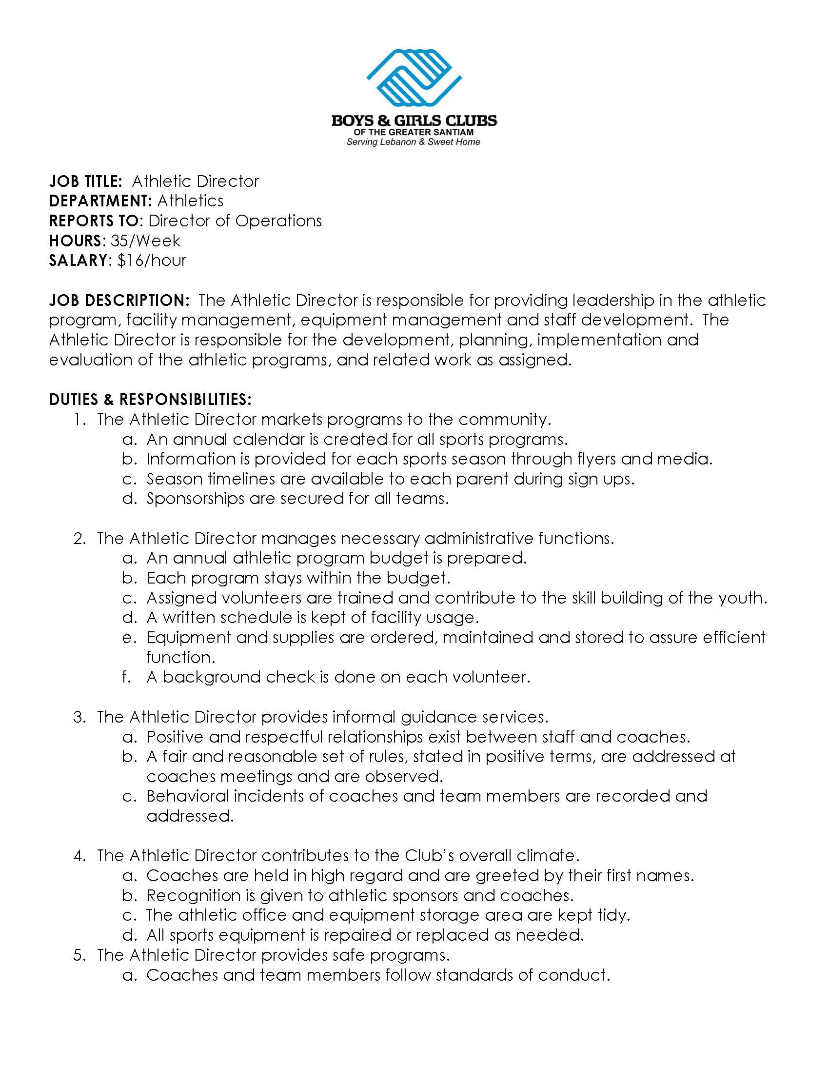 athletic director service director job description