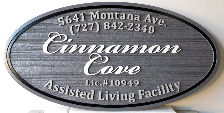 "K20210 - Sandblasted HDU Entrance Sign to ""Cinnamon Cove"" Assisted-Living Residential Community"