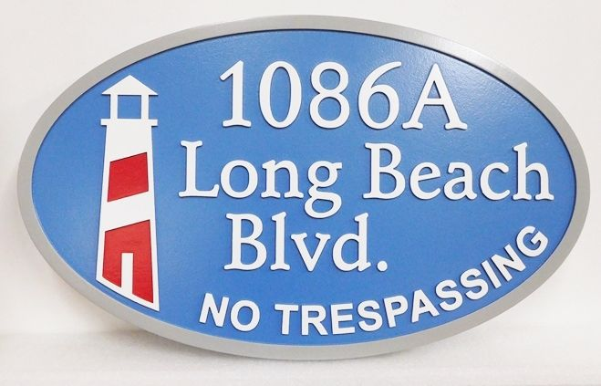 L21425 - Carved 2.5-D HDU Coastal Residence Address Entrance Sign  featuring  a Stylized  Lighthouse.