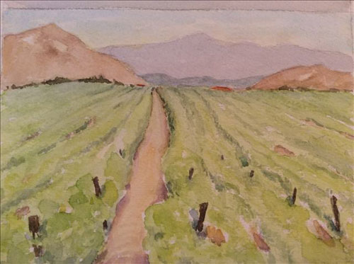 "Temecula Ponte Winery, watercolor, 5.5"" x 4.5"""