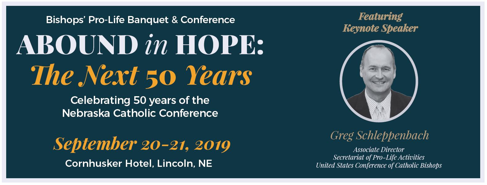 Vendor Registration: Bishops' Pro-Life Banquet and Conference