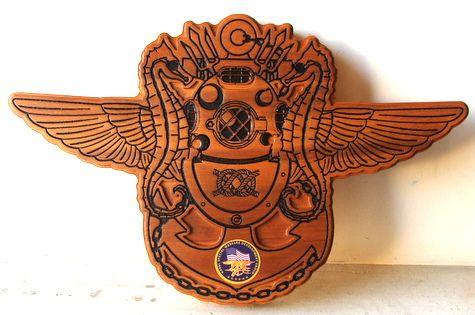 V31290 - Carved Cedar USN Special Forces Emblem with Diver's Helmet