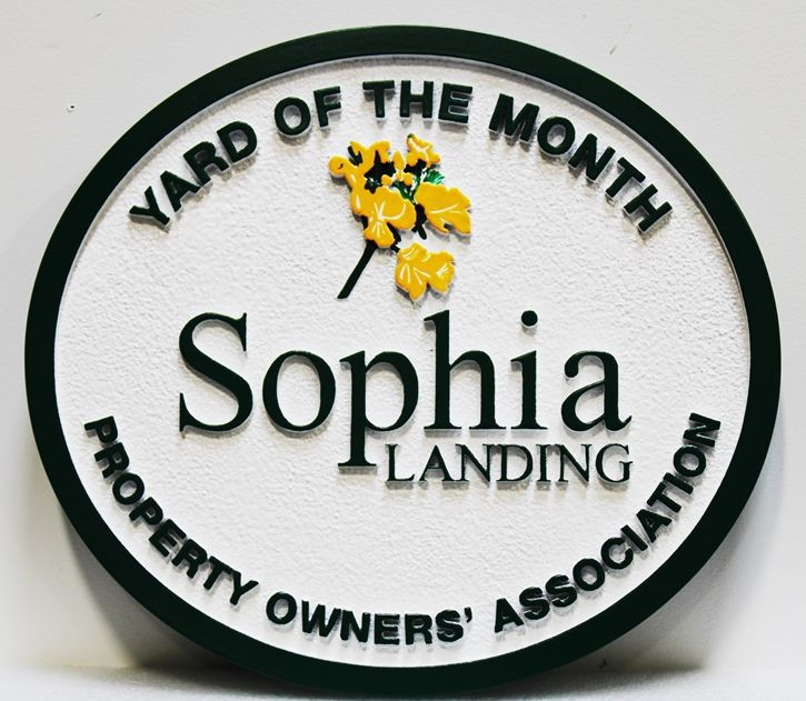 "KA20938 - Carved and Sandblasted HDU Yard-of-Month Sign, for ""Sophia Landing "" HOA, with Flower as Artwork"