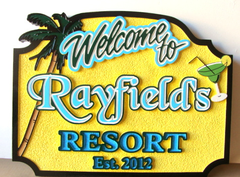 "RB27217 - Carved and Sandblasted HDU Tropical Bar Sign, ""Rayfield's Resort"", with Palm Tree and Cocktail"