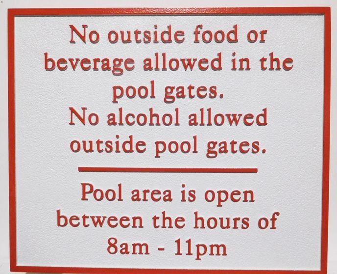 """GB16436 - Carved HDU Pool   """"No Outside Food or Beverage"""" Rules Sign"""