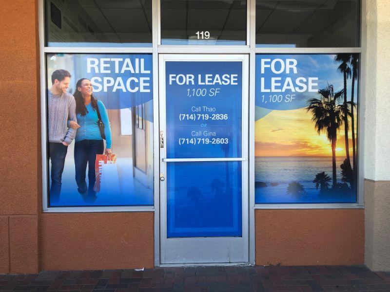 Window graphics for commercial properties Garden Grove CA