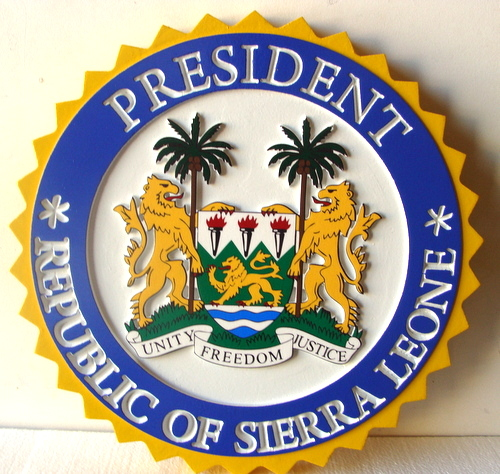 EP-1100  - Carved Plaque of the Great Seal  of the President of Sierra Leone,   Artist Painted
