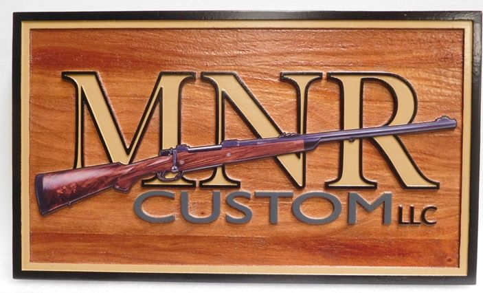 """S28098 -  Carved and Sandblasted Cedar Wood Commercial Sign  for the """"MNR Custom LLC"""", 2.5-D Artist-Painted"""