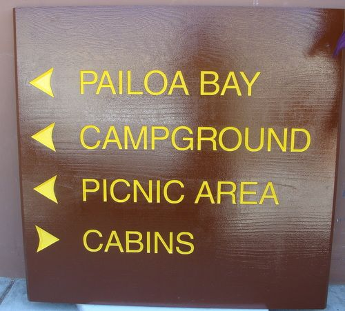 G16352 -  Painted Engraved Cedar Sign for Bay, Campground, Picnic Area, Cabins