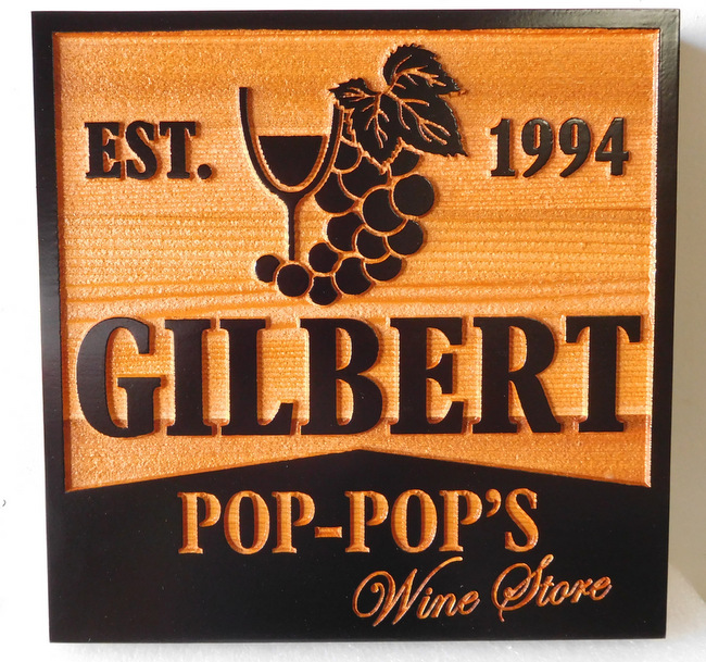 R27031 - 2.5-D Sandblasted Cedar Wine Cellar Sign, with Grape Cluster and Glass, for Gilbert Store