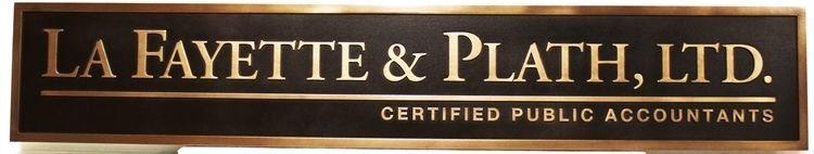 "C12073 - Carved  Sign for ""La Fayette & Plath, Ltd. - Certified Public Accountants"" , with 24K Gold-Leaf Text and Border"