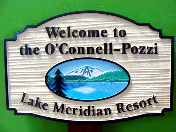 M22320 - Wood Look HDU Sign for Lake Resort with Mountains, Lake and Trees