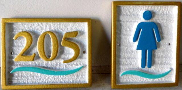 KA20840 - Carved HDU Sign for the Ladies Bathroom