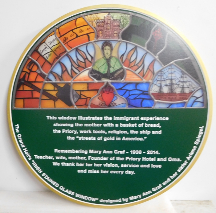 "N23506- Carved  HDU Memorial Wall Plaque  for Mary Ann Graf, featuring the ""Irish Stained Glass Window""  for the Priory Hotel"