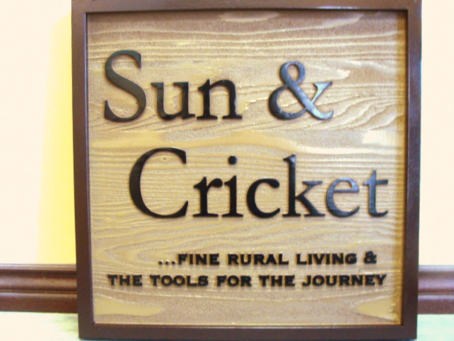 "SA28381 - Carved 2.5-D and Sandblasted Cedar Wood Sign for ""Sun and Cricket: Retail Store"