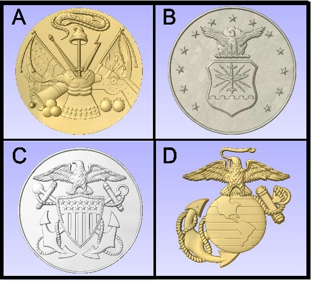 U30903 - Carved US Military Emblems (Army, Air Force, Navy, Marine Corps)