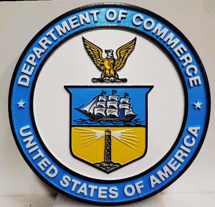 AP-5010 - Carved Plaque of the Seal of the Department of Commerce, Artist Painted