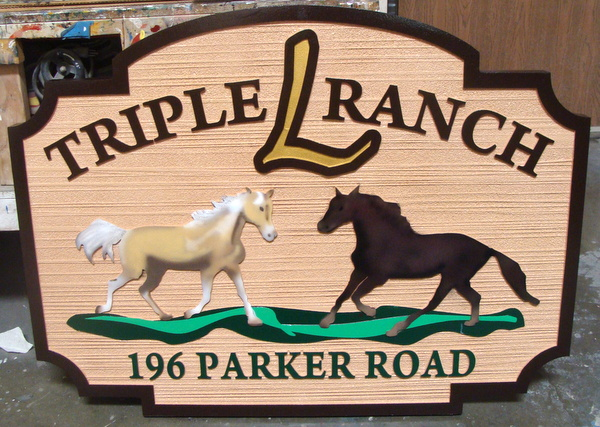 "P25114 - Sandblasted HDU Sign for ""Triple L Ranch"", with Two Stallions"