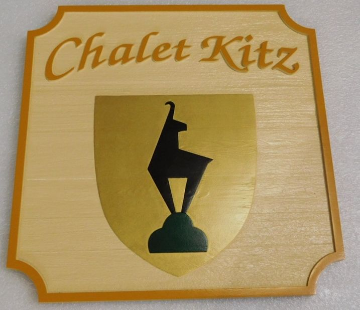 "I18113 - Carved Wood Residence Name Sign, ""Chalet Kitz"", with a Sylized Goat as Artwork"