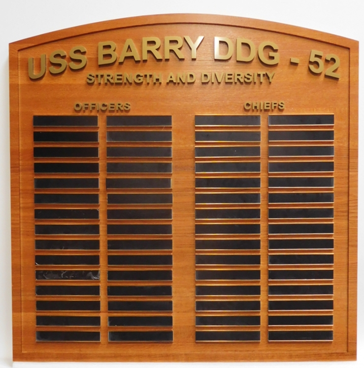 JP-2732 - Ship Plaque for USS Barry DDG  with Crew Roster, Magony with Slide-In Engraved Brass Plates for Crew Names