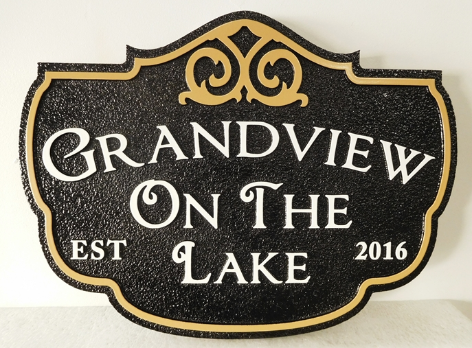 "I18171 - Ornate Carved High-Density-Urethane Property Name Sign, ""Grandview on the Lake"""