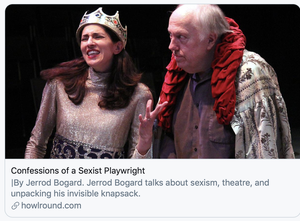 "A picture of two people who are wearing medieval costumes, Also, there is a title that reads, ""Confessions of a Sexist Playwright."""