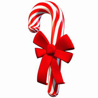 A picture of a cartoon red and white striped candy cane with a red ribbon wrapped around it