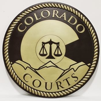 GP-1065 - Carved 2.5-D Raised Relief Brass-Plated Plaaue of the Seal of Colorado Courts