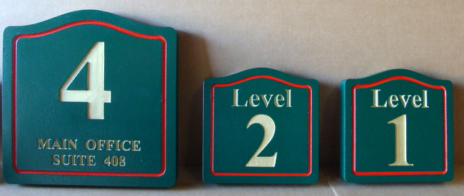F15560 - Carved, Engraved HDU Signs Giving Numbers for Floor Levels