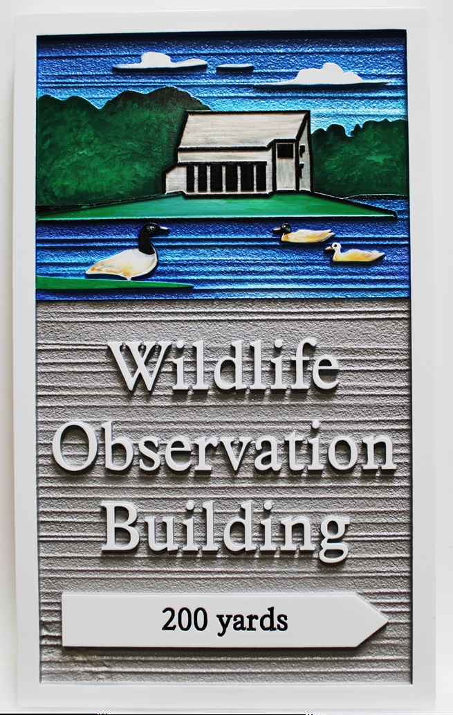 G16042 -  Carved  HDU Directional Sign for Wheeler National Wildlife Refuge  Observation Building, 2.5-D Artist Painted, with Building,  Lake, Ducks, and Trees as Artwork